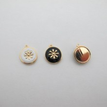 10 pcs pendentif Doré à l'or fin 13mm