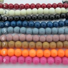 42cm Perles en verre ronde lisse 4mm/6mm/8mm