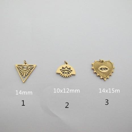 10 pcs pendant with rhinestones stainless steel