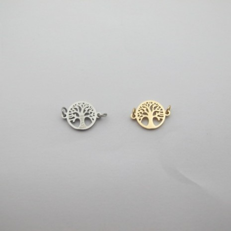 10 pcs Spacers tree of life stainless steel 10 pcs pendant with rhinestones stainless steel