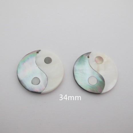 2 pcs Pendentif le yin et le yang en nacre