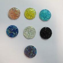 50 Cabochons ronde plat décoré 20mm