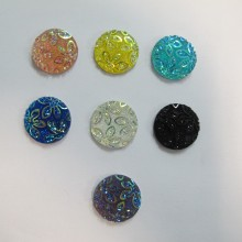 50 Cabochons round flat decorated 20mm