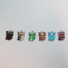 30 Metal Owl Charms 15x10mm