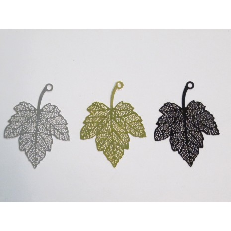 20 Estampes feuilles laser cut 46x34mm