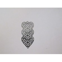 50 Estampe coeur laser cut 45x21mm