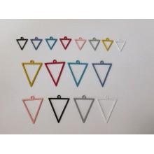 30 Pendentif teinté triangles ajourés 18x11mm/35x27mm