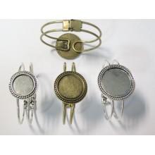 5 Support Bracelet en Métal  pour cabochons ronde 20mm/25mm/30mm
