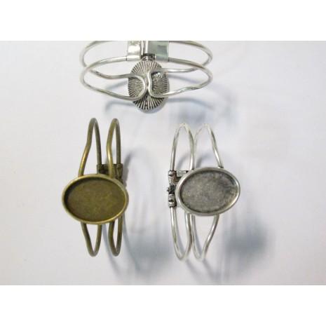 5 Support Bracelet en Métal pour cabochons ovale 18x25mm