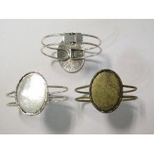 5 Support Bracelet en Métal pour cabochons ovale 30x40mm
