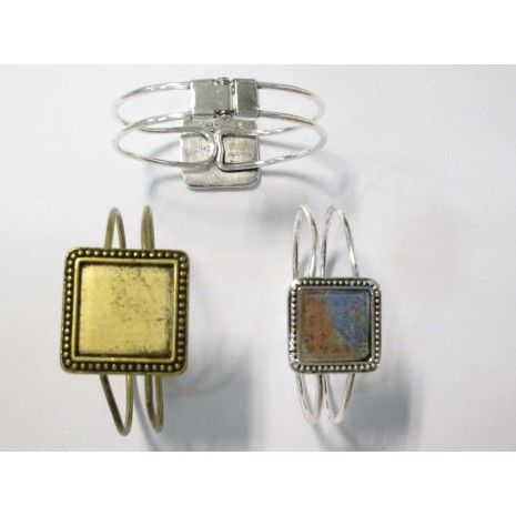 5 Support Bracelet en Métal pour cabochons carrés