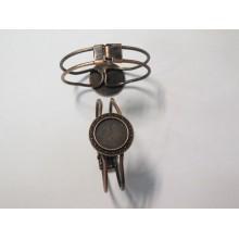 5 Copper Metal Bracelet Holder for 20mm round cabochons
