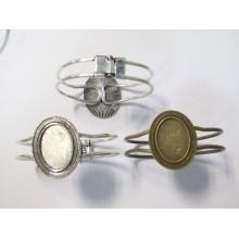 5 Metal Bracelet Holder for oval cabochons 18x25mm