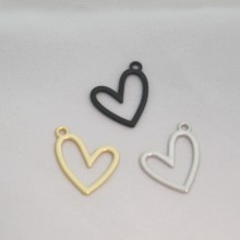 50 Heart charms 26x22mm