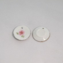 20 Ceramic Charms Pink Plate 18mm