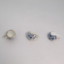 20 Charms Small blue ceramic cups 17x10mm
