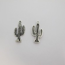 20 Metal charms cactus 33x16mm