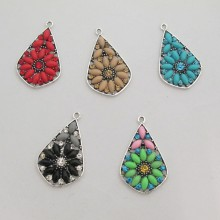 5 Pendant drop with strass 33x20mm