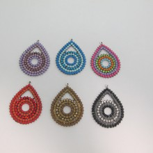 5 Pendant drop with strass 56x43mm