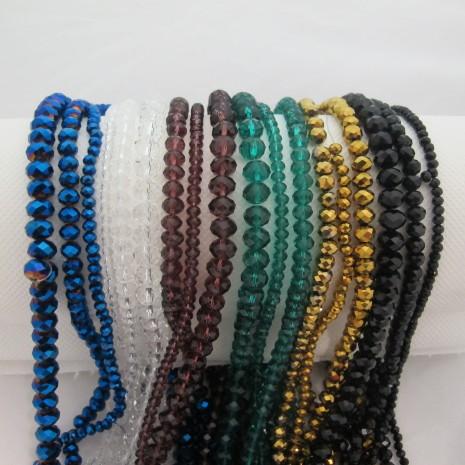Perles facettées en verre-Fil de 40 Centimetres