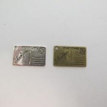50 Breloques Métal  Carte postale 25x15mm