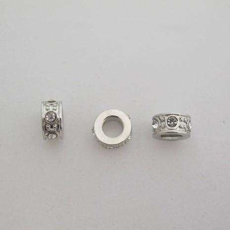 25 perles Métal avec strasse Grand trou