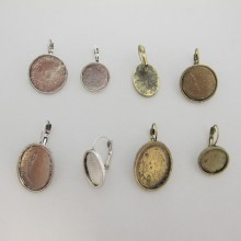 20 pieces Earrings Domeuses with rim for cabochon15mm/20mm/13x18mm/18x25mm