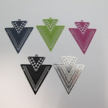 20 Estampe Double Triangle Laser Cut 40x32mm