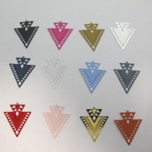 30 Estampe Double Triangle Laser Cut 31x26mm