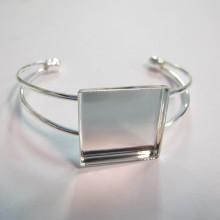 3 pieces Bracelet serti pour cabochon carré 25x25x5mm