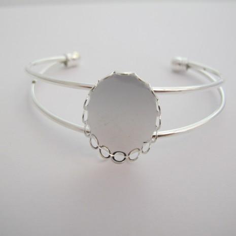 3 pieces Bracelet serti pour cabochon ovale 25x18 mm