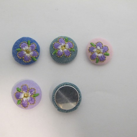 20 Cabochons Ronde Plat 18mm fleur en tissu