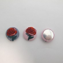20 Cabochons Ronde Plat 18mm rose en tissu