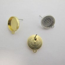 20 Pieces Boucle D'oreille tiges À Rebord Pour Cabochon 13mm
