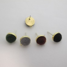 20 Pieces Synthetic Fur Earrings Gold Stems 19MM