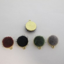 20 Pieces Synthetic Fur Pendant Gold 19X16MM