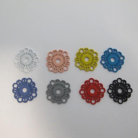 30 Estampe Fleurs Teinté 26mm